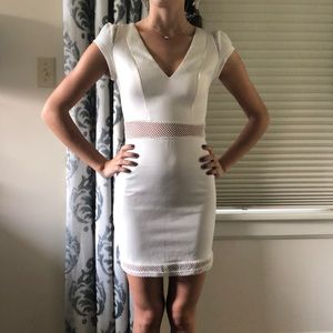 White accented netting dress